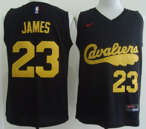 Men's Nike Cleveland Cavaliers #23 LeBron James 2017 Black With Yellow Fashion Stitched NBA Jersey
